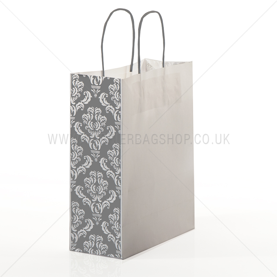 silver damask panel paper carrier bags carrier bag shop