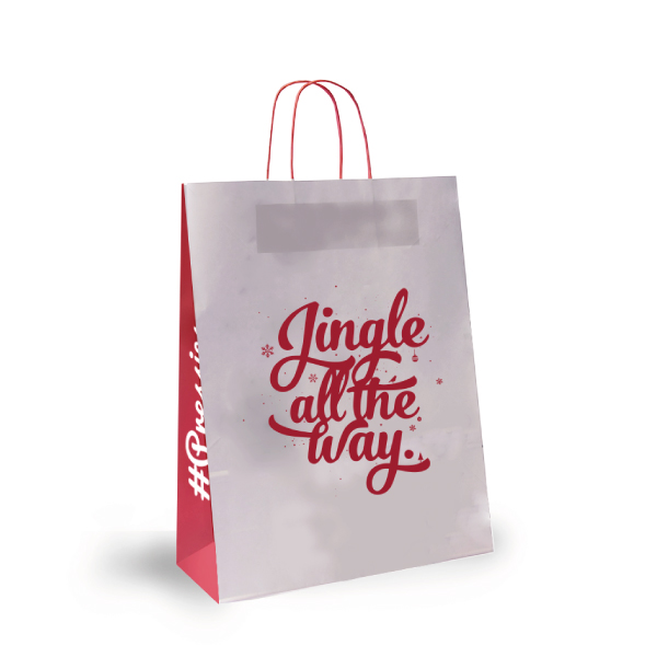 Jingle And Snow Paper Bags Festive Forest Design Carrier