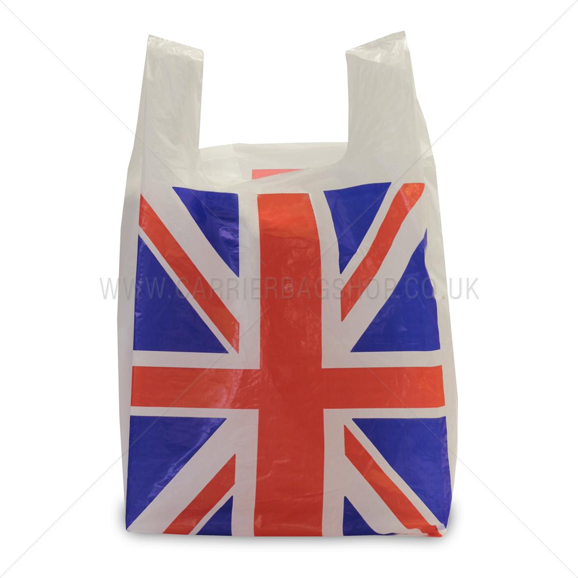 Union Jack Standard White Vest Style Plastic Carrier Bags