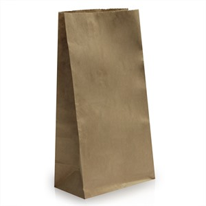 "Block Bottom Brown Kraft Bags - 7""(W) x 14""(H) + 4.5""(G)"