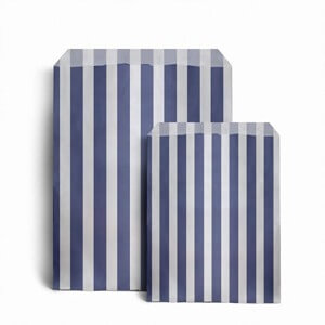 "Dark Blue Candy Stripe Paper Bags - 7"" x 9"""