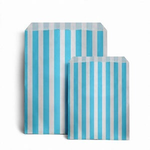 "Light Blue Candy Stripe Paper Bags - 7"" x 9"""